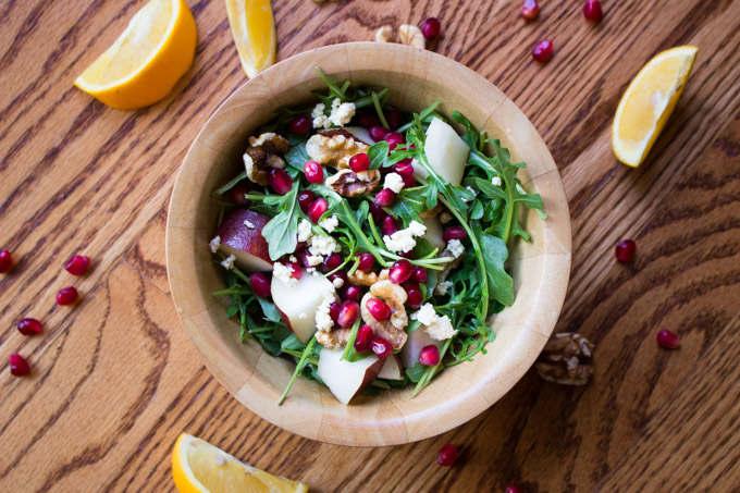 Pomegranate, Pear, and Arugula Salad with Citrus, Walnuts, and Feta