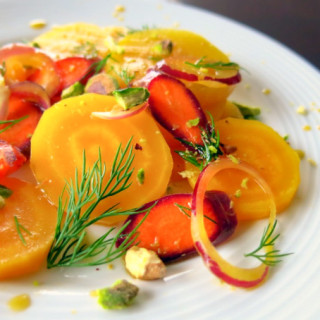 Marinated Golden Beet Salad with Carrots, Dill, and Pistachios