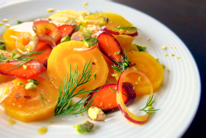 Citrus-Marinated Golden Beet and Carrot Salad with Dill and Pistachios
