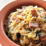 A delicious, savory, hearty sauerkraut, cabbage, and mushroom stew based on traditional Polish bigos. This plant-based recipe is paleo, vegetarian, and vegan, with the option of adding crispy smoked tofu for a chewy, flavorful, and healthy meat substitute.