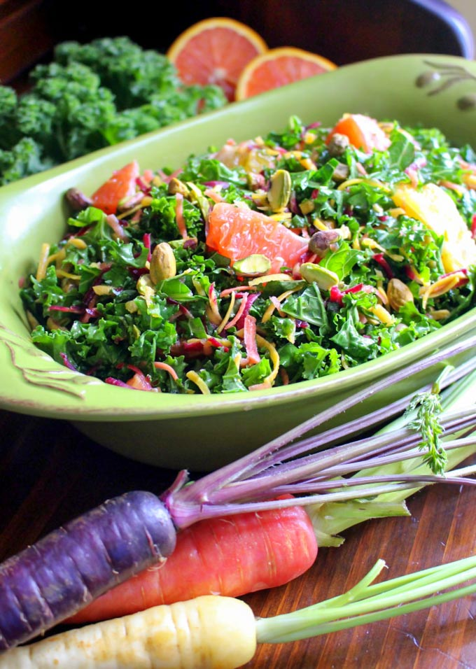 Kale and Carrot Salad with Citrus and Pistachios