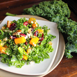 Kale & Cranberry Salad with Winter Squash