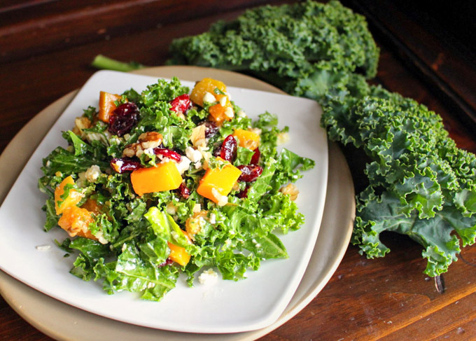 Kale and Cranberry Salad with Walnuts and Winter Squash