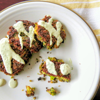 Broccoli-Almond Fritters with Creamy Lemon Tarragon Sauce (Paleo, Vegan, & Gluten-Free)