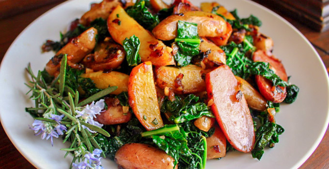 Lemon-Rosemary Fingerling Potatoes with Kale