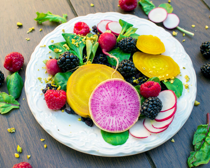 Black Rice, Beet, and Berry Salad with Citrus-Ginger-Miso Dressing