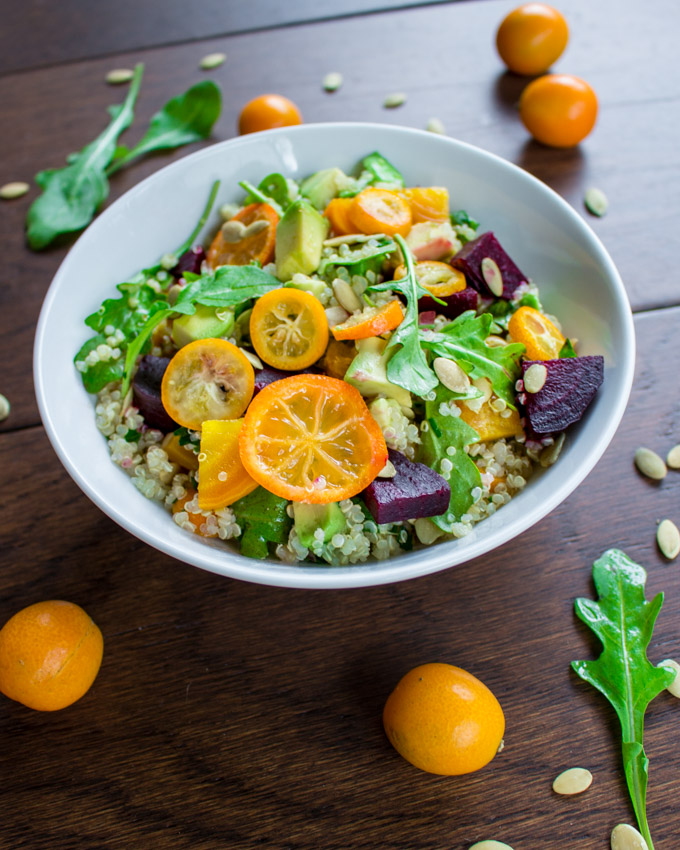 Avocado Beet Quinoa Salad with Kumquats and Pumpkin Seeds
